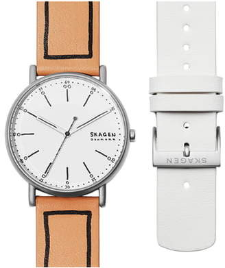 Skagen Signatur Leather Strap Watch Set, 45mm