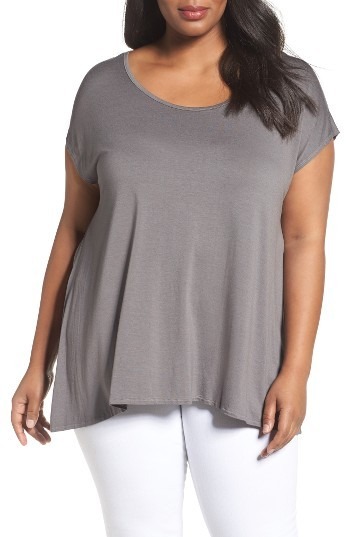 Three Dots Plus Size Women's Three Dots Cap Sleeve Tee
