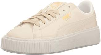 Puma Women's Basket Platform Patent WN's Field Hockey Shoe, Oatmeal