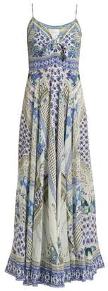 Camilla Salvador Summer Print Tie Front Silk Dress - Womens - Blue Multi