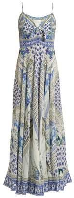 Camilla - Salvador Summer Print Tie Front Silk Dress - Womens - Blue Multi