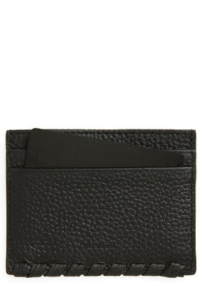 Women's Allsaints Kita Pebbled Leather Card Case - Black $48 thestylecure.com