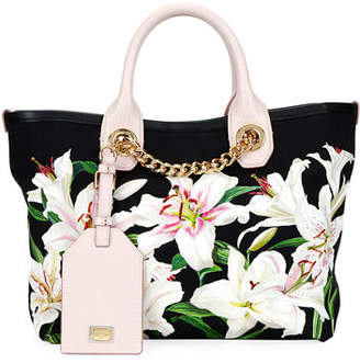 Dolce & Gabbana Flower Canvas and Leather Shopper Tote Bag with Chain