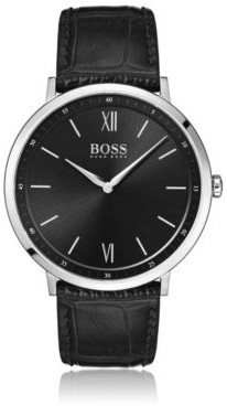 BOSS Hugo Black-dial watch crocodile-embossed leather strap One Size Assorted-Pre-Pack