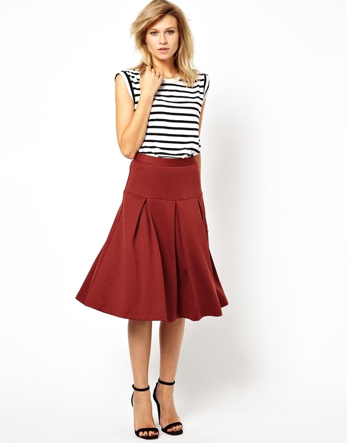 ASOS Midi Skirt with Box Pleats