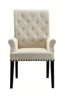 Coaster Company Parkins Upholstered Dining Arm Chair, Cream