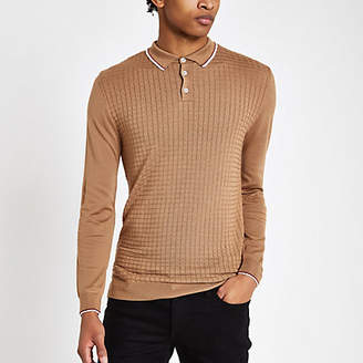 River Island Camel slim fit grid textured polo shirt