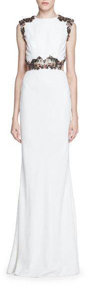 Alexander McQueenAlexander McQueen Embellished Open-Back Column Gown, Ivory