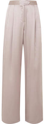 Michelle Mason - Silk-charmeuse Wide-leg Pants - Silver