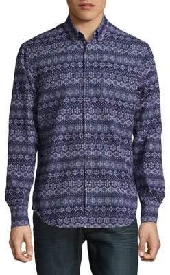 Black & Brown Black Brown Snowflake-Print Button-Down Shirt