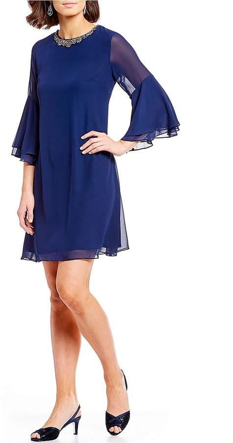 Ignite Evenings Beaded Neck Bell Sleeve Chiffon Dress