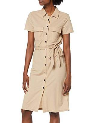 Vila Women's Visafina S/S Shirt Dress Tb/Ki Beige Soft Camel, (Herstellergröße: 36)