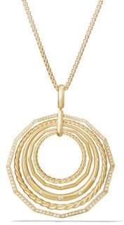 David Yurman Stax Pendant Necklace with Diamonds in 18K Yellow Gold