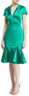 Zac Posen Ruffled Stretch Satin-Skirt Dress