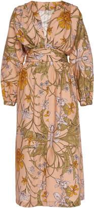 Johanna Ortiz Falling Orchids Floral Printed Cotton Midi Dress Size: 0