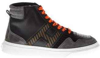 Hogan H365 Black Leather & Suede High-top Sneakers