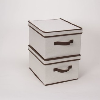 Household Essentials Large Canvas Storage Box with Brown Trim