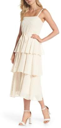 Gal Meets Glam Florence Chiffon Embroidered Tiered A-Line Dress