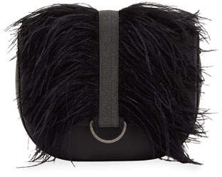 Brunello Cucinelli Rounded Thick-Strap Feather-Trimmed Crossbody Bag
