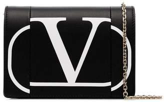 Valentino logo print leather crossbody bag