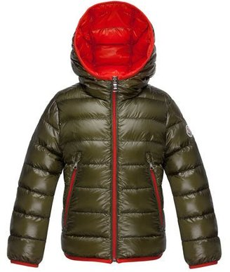 Moncler Mir Hooded Lightweight Down Puffer Jacket, Olive, Size 4-6 $490 thestylecure.com