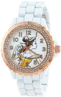 EWatchFactory Disney Women's W001001 Belle White and Rose Gold Enamel Watch