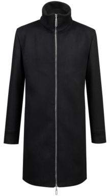 HUGO Boss Wool-blend coat zippered front 38R Black
