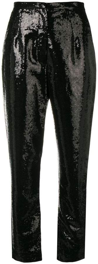 sequins embroidered trousers