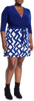 Neiman Marcus Zigzag Print Wrapped Mini Combo Dress, Plus Size