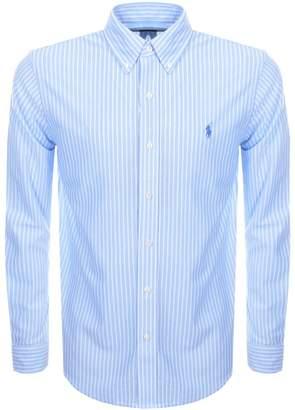 Ralph Lauren Striped Knit Oxford Mesh Shirt Blue