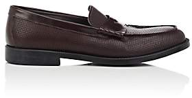 Emporio Armani Men's Textured Leather Penny Loafers-Med. Brown Size 10 M