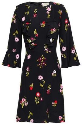 Kate Spade Ruffled Floral-Print Silk-Seersucker Mini Dress