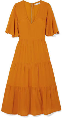 Faithfull The Brand Melia Tiered Crepe Midi Dress - Yellow
