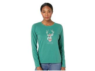 Life is Good Funky Reindeer Crusher Long Sleeve T-Shirt