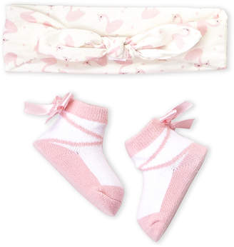 Rising Star (Newborn Girls) Two-Piece Flamingo Head Wrap & Socks Set
