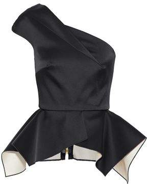 Roland Mouret Rodmell One-Shoulder Satin Peplum Top