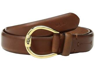 Lauren Ralph Lauren 1 Bennington Equestrian Belt on Smooth Strap Women's Belts