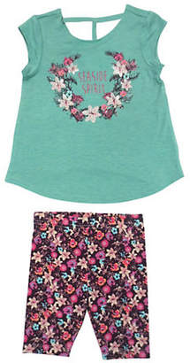 Jessica Simpson Two-Piece Floral Top and Leggings Playwear Set