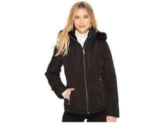 Calvin Klein Puffer Short with Detachable Fur Trimmed Hood Women's Coat