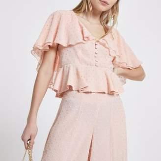 River Island Womens Petite pink polka dot frill cape top