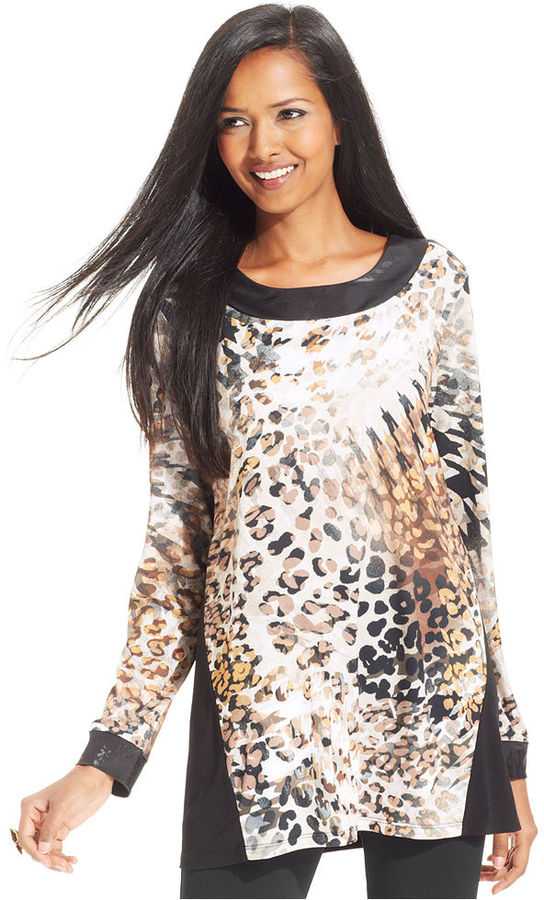 Style&Co. Petite Top, Long-Sleeve Animal-Print Faux-Leather Tunic