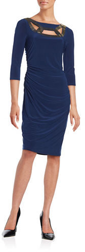 Adrianna PapellAdrianna Papell Embellished Ruched Sheath Dress