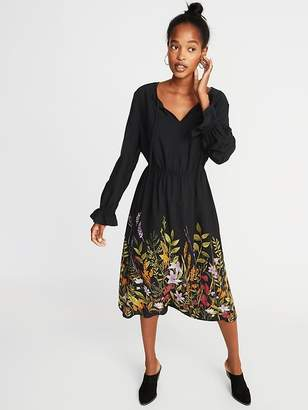 Old Navy Poet-Sleeve Waist-Defined Midi for Women