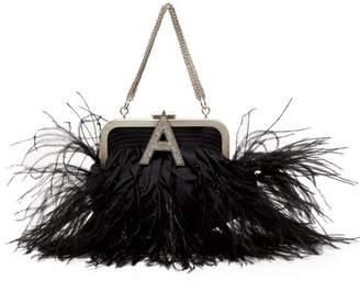 ATTICO The Ostrich Feather Embellished Taffeta Clutch - Womens - Black