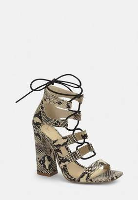 Missguided Gray Snake Print Flare Heel Ghillie Sandals