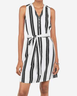 Express Striped Sash Waist Shirt Dress