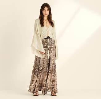 Amanda Wakeley Embellished Ecru Tie Front Kimono Top