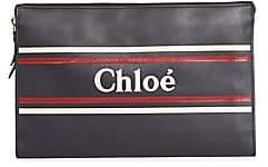 Chloé Women's Striped Leather Logo Zip Pouch