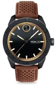 Movado Tri-Tone Leather Strap Watch