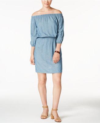 Calvin Klein Jeans Off-The-Shoulder Denim Dress $79.50 thestylecure.com